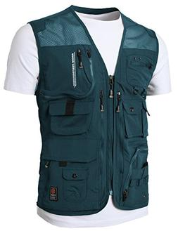 H2H Mens Summer Cotton Leisure Outdoor Plus Size Fish Vest G