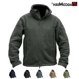 Mens Tactical Recon Ful Zip Warm Fleece Jacket soft Hooded S