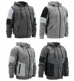 Men's Two Tone Warm Soft Sherpa Lined Moto Quilted Zipper