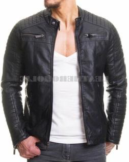 MENS VINTAGE BLACK GENUINE LEATHER JACKET SLIM FIT REAL BIKE