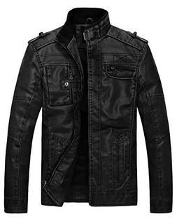 Wantdo Mens Vintage Stand Collar Faux Leather Jacket,Black,U