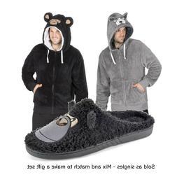 Mens Warm Fleece Zip Up Novelty Hoodie Hooded Jacket Robe Lo