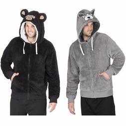 Mens Warm Fleece Zip Up Novelty Hoody Jacket Jumper Robe Lou
