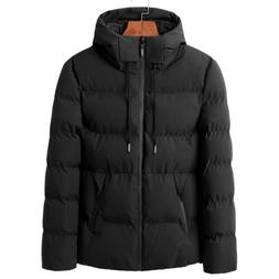 Mens Winter Jackets With Hood Black Outerwear Clearance Slim