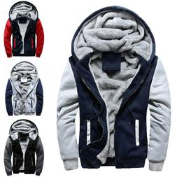 Mens Winter Warm Thick Fleece Hooded Hoodie Coat Zip Up Casu
