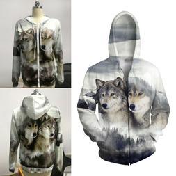 Mens Womens 3D Wolf Animal Print Zip Up Hoodie Jacket Coat T