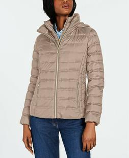 MICHAEL Michael Kors Womens Packable Puffer Down Jacket Taup