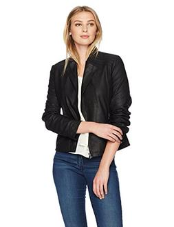 Lark & Ro Women's Moto Leather Jacket, Black, Small