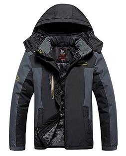 HOW'ON Men's Mountain Waterproof Fleece Ski Jacket Windproof