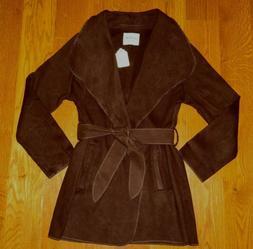 New LE3NO $38 Brown FLEECE Open-Style COAT/JACKET with Belt/