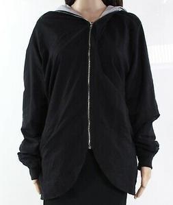 DJT NEW Black Gray Womens Size XL Full Zipper Tulip Hem Hood