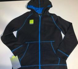 NEW Boys TEK GEAR L/S Hooded Fleece Jacket Black/Blue Zipper