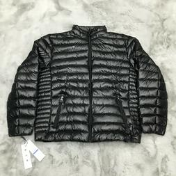 New Calvin Klein Classic Zip Front Packable Down Jacket Blac