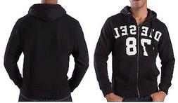 NEW DIESEL Fashion Men's S-GUNTER Zip 78 Logo Black Hoodie J