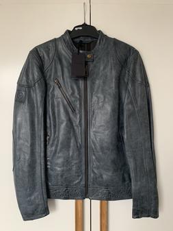 New Belstaff Maxford 2.0 Leather Jacket Petrol Blue RRP £11