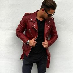 New Men Genuine Leather Jacket Maroon Retro Slim fit Biker M