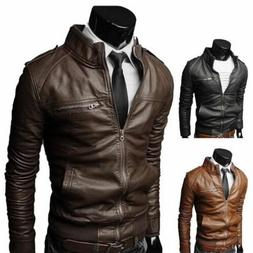 New Men's Fashion Jackets Collar Slim Motorcycle Leather Jac