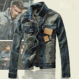 New Men's Slim Fit Classic Retro Thicken Coat Jean Denim Jac