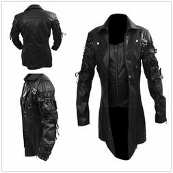 New Men's Steampunk Gothic Faux Leather Trench Coat Jacket G