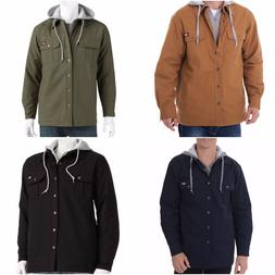new mens hooded cotton canvas work shirt