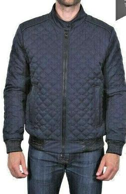 NEW Men's Tahari Quilted Bomber Jacket Funnel Neck  Faux Lea