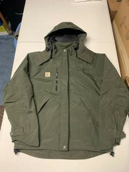 NEW Mens CARHARTT SHORELINE J162 Waterproof Jacket Rain Gree