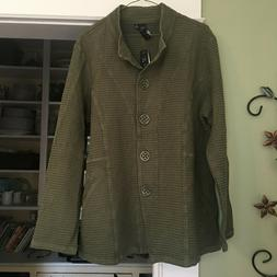New with Tags Honeycomb Weave Button Down Jacket Olive Color