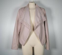 NEW BB Dakota Women's Faux Leather Drape Front Jacket Size X