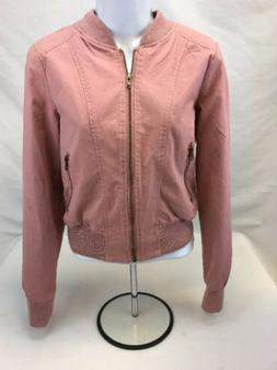 NEW Ambiance Women's Pink Long Sleeve Full Zip Twill Bomber