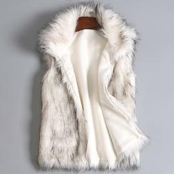 New Women's Wool Vest Winter Faux Fur Sleeve Vest Stand Coll