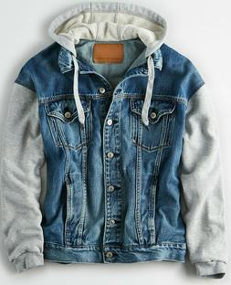 NWT $90 American Eagle Women's Boyfriend Fit Hoodie Denim Ja