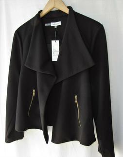 NWT Calvin Klein Black Moto Style Jacket Size 1X 16 L/S Zip
