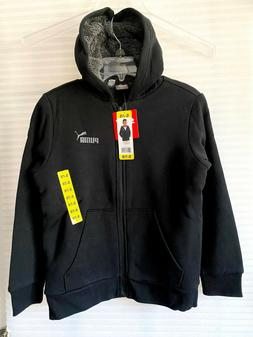 NWT Puma Kids Boys Zip Up Hoodie Jacket, Sherpa Lined, Black