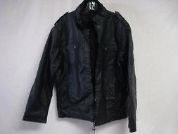 NWT Men's Oak & Rush Faux Leather Coat Jacket Size Large Bla
