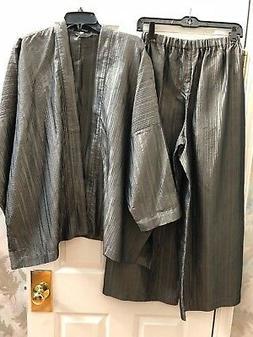 NWT Eskandar Size 0 XL 1x Olive Textured 2 piece Silk Jacket
