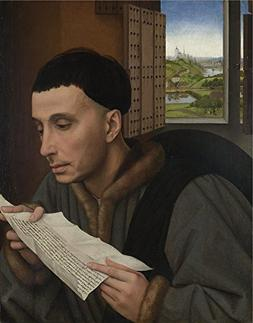 Oil Painting 'Workshop Of Rogier Van Der Weyden A Man Readin
