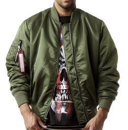 Smoke Rise Olive Nylon MA1 Side Zip Bomber Jacket