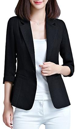 Women's One Button Blazer Suit Jacket, Black 0 = Tag S