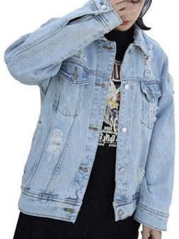 Oversize Denim Jacket For Women Ripped Jean Jacket Boyfriend