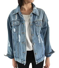 JudyBridal Oversize Denim Jacket for Women Ripped Jean Jacke