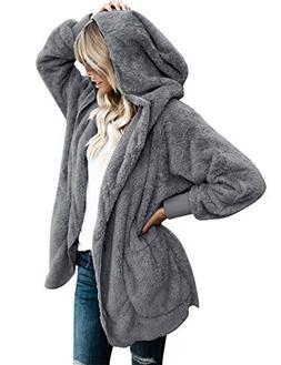 Lookbook Store Women's Oversized Open Front Hooded Draped Po
