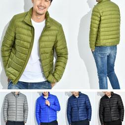 Packable Men's Lightweight Down Jacket Winter Hooded Coat Pu