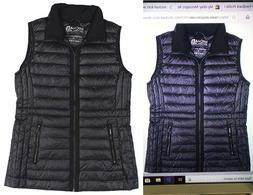 Michael Kors Packable Gilet Zip Up Down Puffer Vest Navy Blu