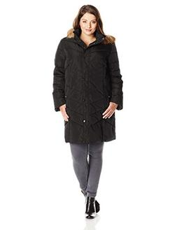 Tommy Hilfiger Women's Plus-Size Chevron Down Coat with Fur