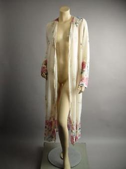 Plus Japanese Floral Print Long Maxi Sheer Duster Robe 242 m