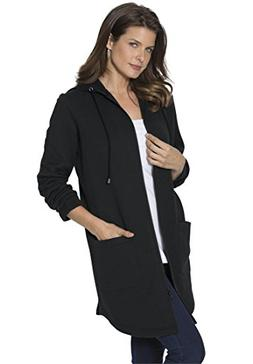 Roamans Women's Plus Size Lightweight Fleece Jacket Black,2X