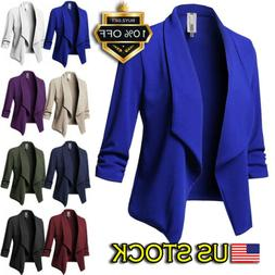 Plus Size Women's Collar Suit Jacket Coat Ladies 3/4 Sleeve