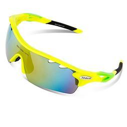 RIVBOS Polarized Sports Sunglasses Sun Glasses with 5 Interc