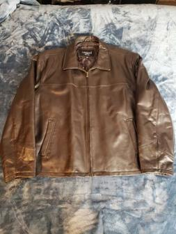Haggar Premium Brown Leather Mens Jacket XXL NWOT