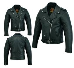 Premium Mens Brando Classic Leather Jacket Genuine Cowhide B